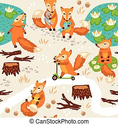Seamless pattern with little cute foxes. Cartoon background