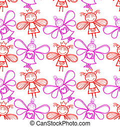 Seamless pattern with little fairies