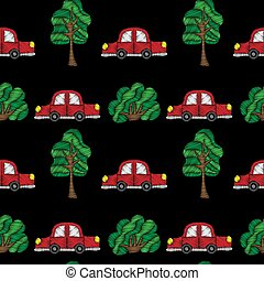 Seamless pattern with little red car and tree embroidery stitches imitation