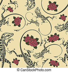 Seamless pattern with lizards