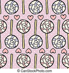 Seamless pattern with lollipops and hearts on dotted violet background.