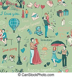 Seamless pattern with love story elements