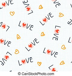 Seamless pattern with love word and heart shape hand drawn lettering. Modern calligraphy. Cute vector illustration.