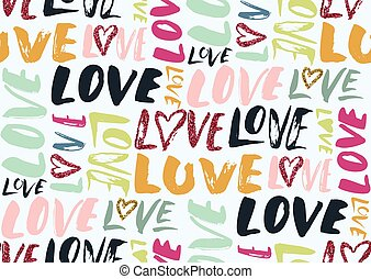 Seamless pattern with love words, hearts.