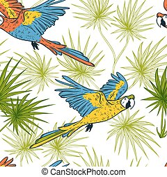 Seamless pattern with macaw parrots