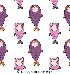 Seamless pattern with magic cute fish. Girl and kitten. Beautiful mermaid