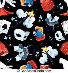 Seamless pattern with Magician illsutrations