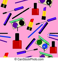 Seamless pattern with makeup objects