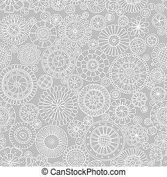 Seamless pattern with mandala with vintage decorative circle elements. Hand drawn tribal grey monochrome background. Islam, Arabic, Indian ornament.