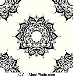 seamless pattern with mandalas, hand drawn on white background