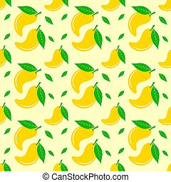 Seamless pattern with mango. Vector texture illustration.