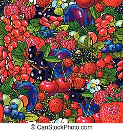 Seamless pattern with many berries like blueberry, raspberry, gooseberry, plum