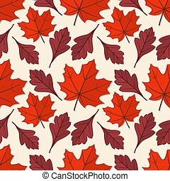 Seamless pattern with maple and hawthorn leaves.