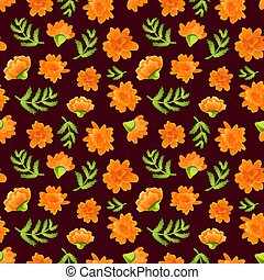 Seamless pattern with marigolds on dark backdrop - Seamless ...