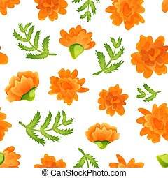 Seamless pattern with marigolds on white backdrop - Seamless...