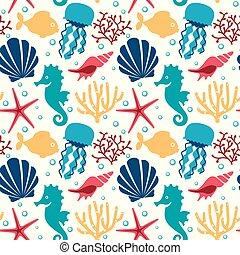 Seamless pattern with marine animals. Underwater background.