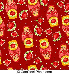 Seamless pattern with matrioshka dolls and flowers. Vector graphics.