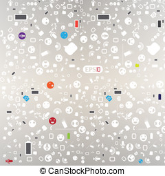 Seamless pattern with media icons.