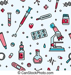 Seamless pattern with medical laboratory equipment. Backdrop...