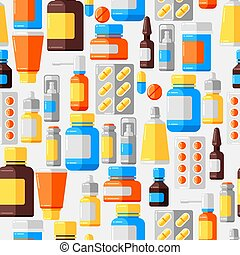 Seamless pattern with medicine bottles and pills.