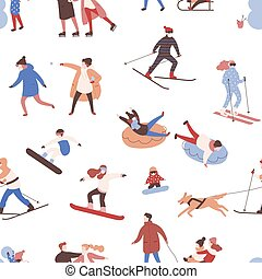 Seamless pattern with men, women and kids performing winter...