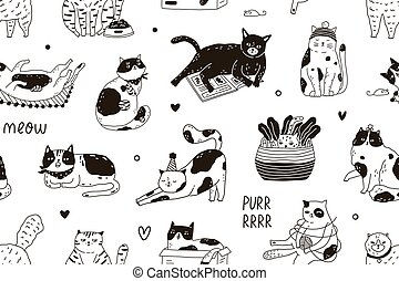 Seamless pattern with Meow inscription and cute funny cats playing and sleeping. Endless black and white background for printing. Hand-drawn childish flat vector illustration in doodle style