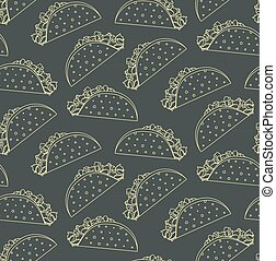 Seamless pattern with mexican fast food outline taco on black background