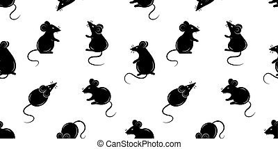 Seamless pattern with mice. Black silhouette of a rat on a white background. Vector illustration.