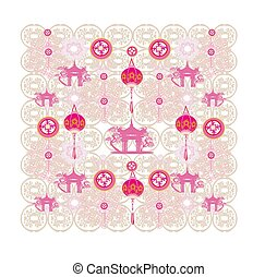 seamless pattern with Mid-Autumn Festival for Chinese New Year