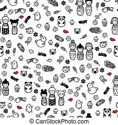 seamless pattern with miniatures in the style of anime