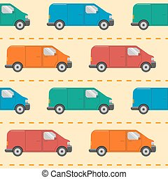 Seamless pattern with minivan cars
