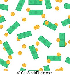 Seamless Pattern with money and banknotes