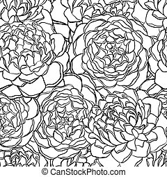 seamless pattern with monochrome, black and white flowers. ...