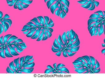 Seamless pattern with monstera leaves. Decorative image of ...