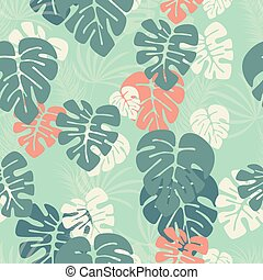 Seamless pattern with monstera palm leaves and plants on blue background