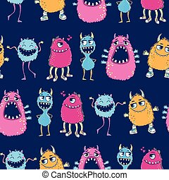 Seamless pattern with monsters.