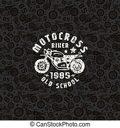Seamless pattern with motorcycles drawings and print for t-shirt