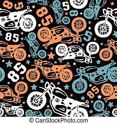 Seamless pattern with motorcycles drawings