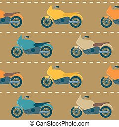 Seamless pattern with motorcycles