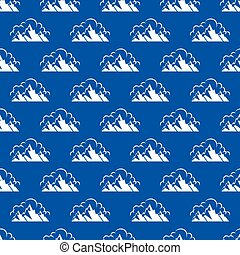 Seamless pattern with mountain and clouds