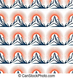 Seamless pattern with mountain and sun