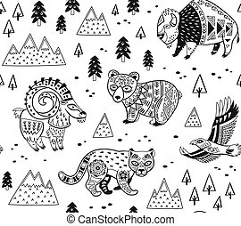 Seamless pattern with mountain animals in monochrome style