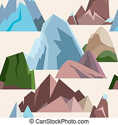 Seamless pattern with mountain icons in flat style