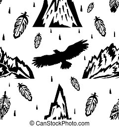 Seamless pattern with mountains and eagles