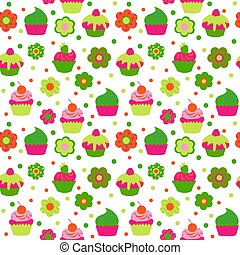Seamless pattern with muffins of flowers and berries
