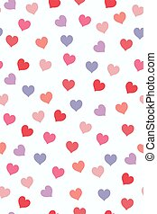 Seamless pattern with multicolored hearts on a white background. Vector graphics.