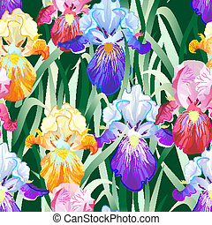Seamless Pattern with Multicolored Iris Flowers