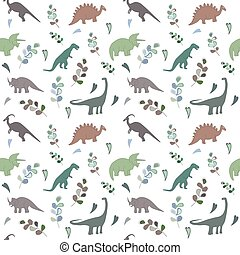 Seamless pattern with multicolors dinosaurs and bright leaf ...