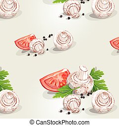Seamless pattern with mushrooms and tomatoes