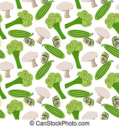 Seamless pattern with mushrooms, cucumber slices, broccoli on a white background. Vector illustration of ingredients for food backgroundin a flat doodle style.
